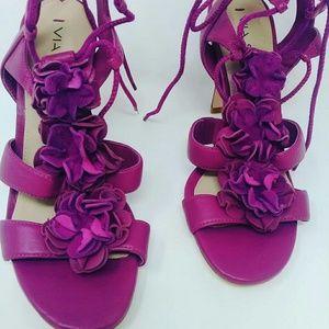 Via Spiga Floral Leather Heels